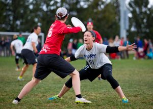From the sideline, Riot's Sarah Griffith has squared up to her mark so she can throw either around or inside. Photo: Nick Lindeke -- UltiPhotos.com