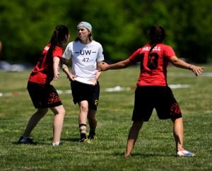 A common strategy in the wind is to play an additional handler defender in the lane to stop upfield throws. Photo: Brian Canniff -- UltiPhotos.com